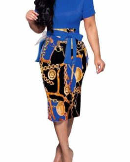Gold Medallion Chain and Buckle Print Dress- Blue- Large