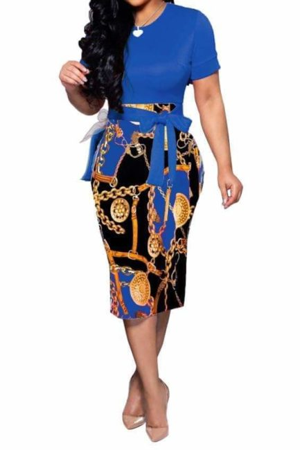Gold Medallion Chain and Buckle Print Dress- Blue- Small