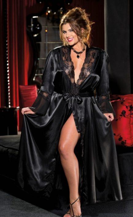 Shirley Of Hollywood Long Charmeuse Chiffon and Lace Robe- Black- 1x-2x