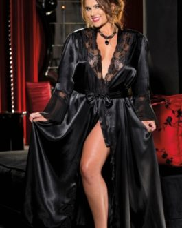 Charmeuse and Lace Long Robe- Black- L/XL
