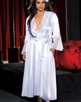 Charmeuse and Lace Long Robe- White- 3x/4x