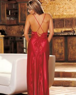 Charmeuse and Lace Long Gown- Red- Medium