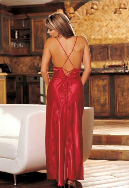 Charmeuse and Lace Long Gown- Red- Large 20300RED-L