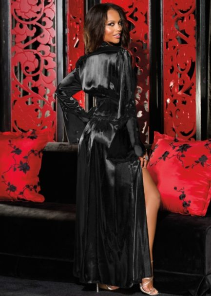 Shirley Of Hollywood Long Charmeuse Chiffon and Lace Robe- Black- S/M