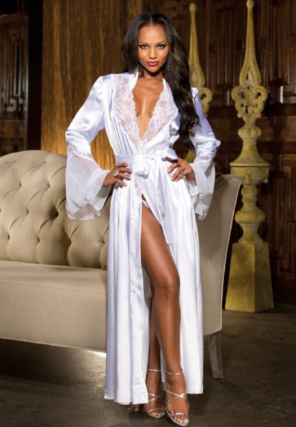 Shirley of Hollywood Long Charmeuse Chiffon and Lace Robe- White- S/M 20559WH-S/M