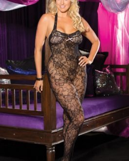 Shirley of Hollywood Halter Stretch Lace Bodystocking- Black- Queen