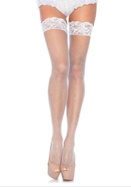 Leg Avenue Spandex Fishnet Thigh Highs w/ Silicone- White- One Size LA-9122-WHT