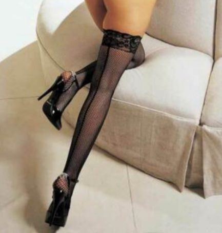H.O.T. Fishnet Back Seam Lace Stay-up Thigh Highs- Black- OS HOT-90013-BLK-OS