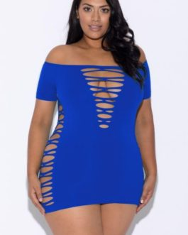 Glitter Off Shoulder Mini Dress- Blue- One Size Queen