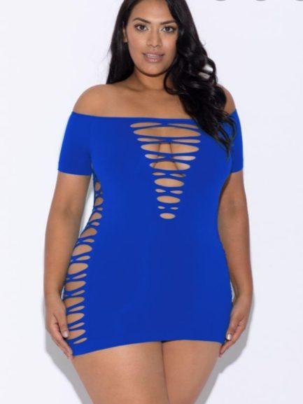 Glitter Off Shoulder Mini Dress- Blue- One Size Queen GL-32115X-BLU-Q