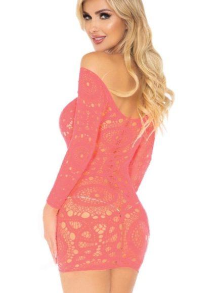 Leg Avenue Crochet Lace Mini Dress- Coral- One Size LA-86794-CRL-OS