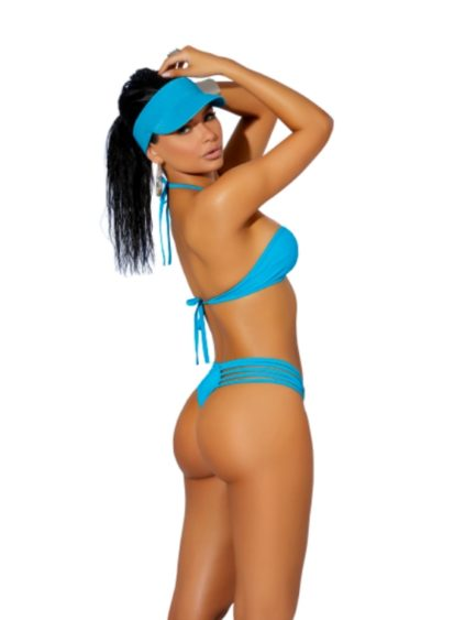 Elegant Moments Lycra Bikini Top and Matching G-String- Turquoise- One Size EM-82156