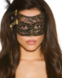 Shirley Of Hollywood  Black and Gold Mask w/ Feather- O/S