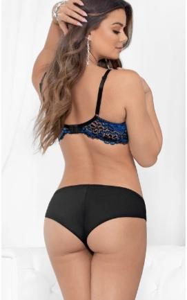 Escante Two-toned Lace Bra- Black/Royal blue- Size 32 E38138-32