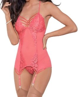 Escante Lace & Mesh Bustier w/ Matching Thong- Salmon- X-Large