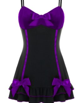 Babydoll w/ Satin Bow Accents- Purple/Black- 3X