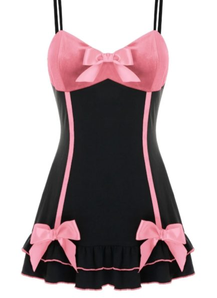 Babydoll w/ Satin Bow Accents- Pink/Black- 3X