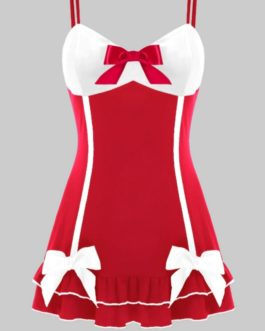 Babydoll w/ Satin Bow Accents- Red/White- Large