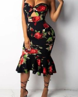 Black Sundress with Floral Print- Small