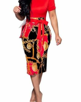 Gold Medallion Chain and Buckle Print Dress- Red- Large