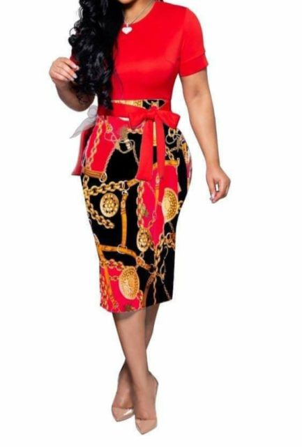 Gold Medallion Chain and Buckle Print Dress- Red- Small