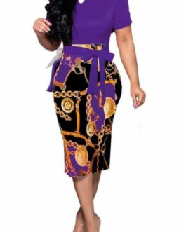 Gold Medallion Chain and Buckle Print Dress- Purple- Large