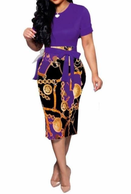 Gold Medallion Chain and Buckle Print Dress- Purple- Small
