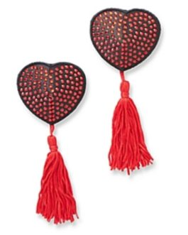 H.O.T. Satin & Rhinestone Heart Shaped Pasties w/ Tassels- Red/Black
