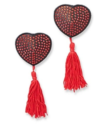 H.O.T. Satin & Rhinestone Heart Shaped Pasties w/ Tassels- Red/Black SOH-956