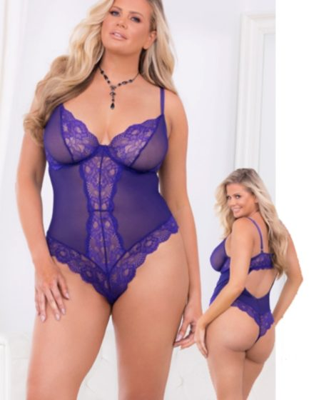 Escante Lace & Mesh Underwire Teddy w/ Cotton Lined Crotch- Purple- 2X E26408X-PRPL-2X