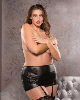 Allure Plus Classic Garter Skirt- Black- Queen