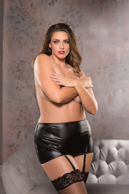 Allure Plus Classic Garter Skirt- Black- Queen ALP-13-1102X-BLK-Q