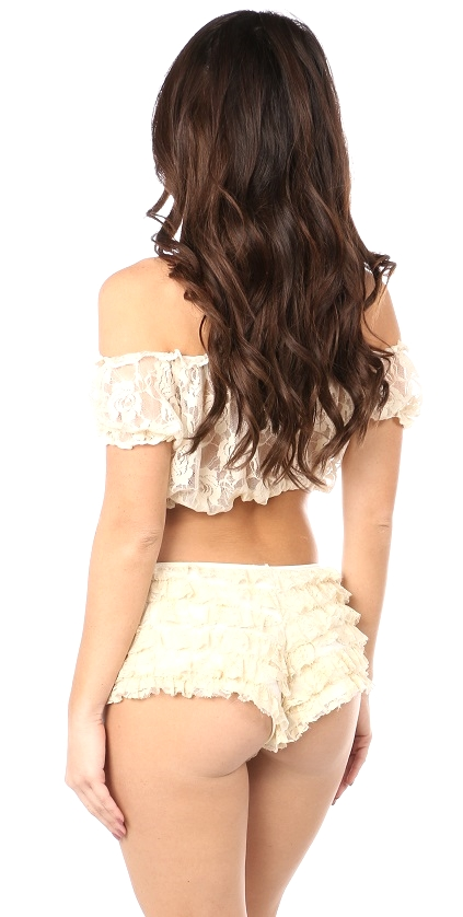 Plus Size Cream Sheer Lace Short Sleeve Peasant Top DASACC-131