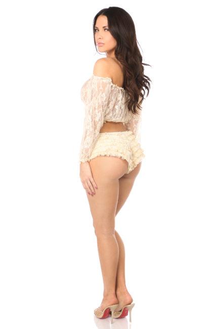 Cream Sheer Lace Long Sleeve Peasant Top DASACC-132