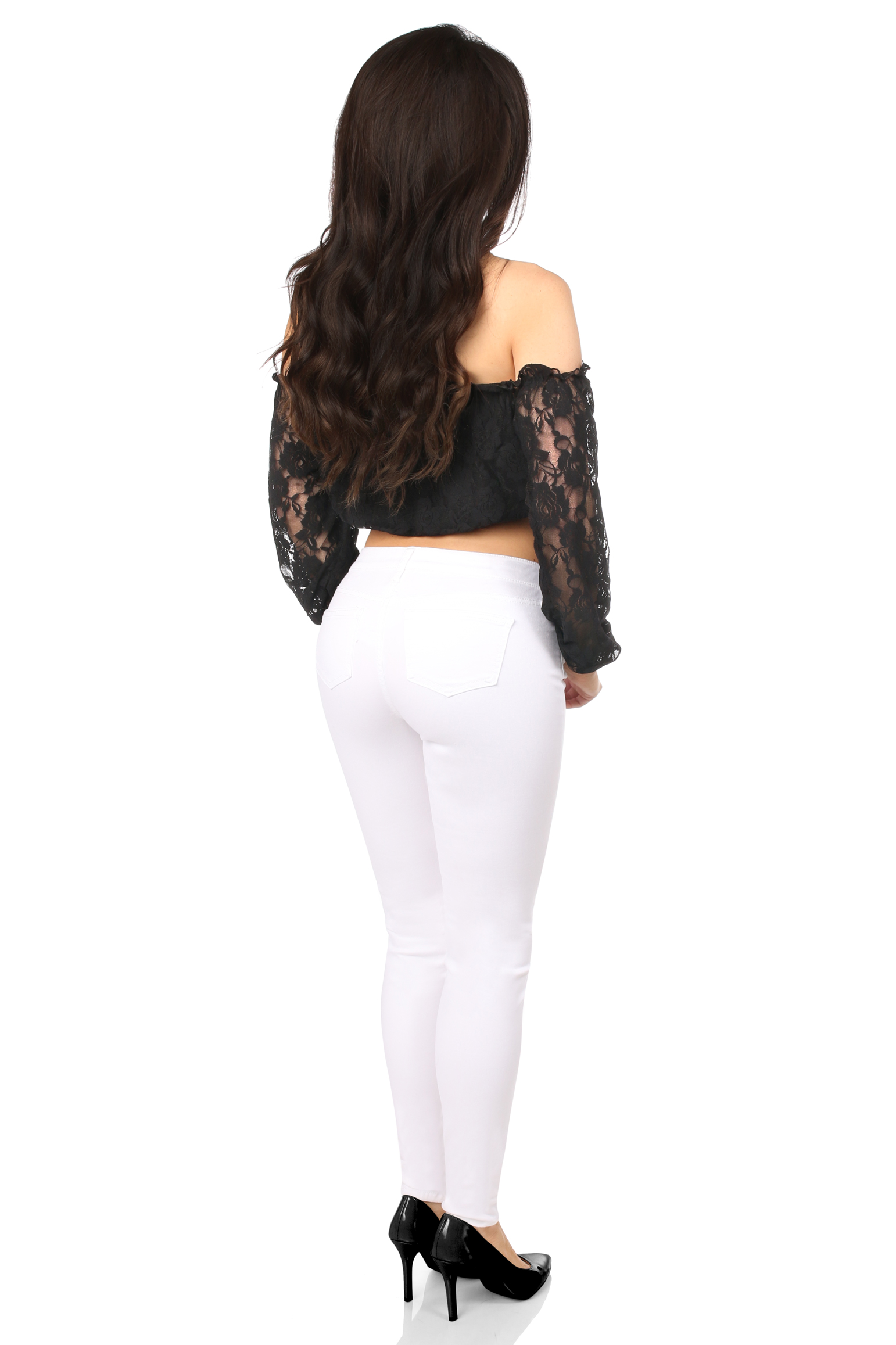 Plus Size Black Lined Lace Long Sleeve Peasant Top DASACC-138
