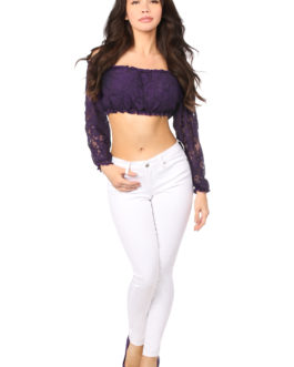 Plus Size Plum Lined Lace Long Sleeve Peasant Top