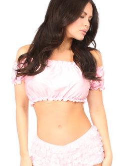 Baby Pink ShortSleeve Peasant Top