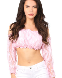 Baby Pink Lined Lace Long Sleeve Peasant Top