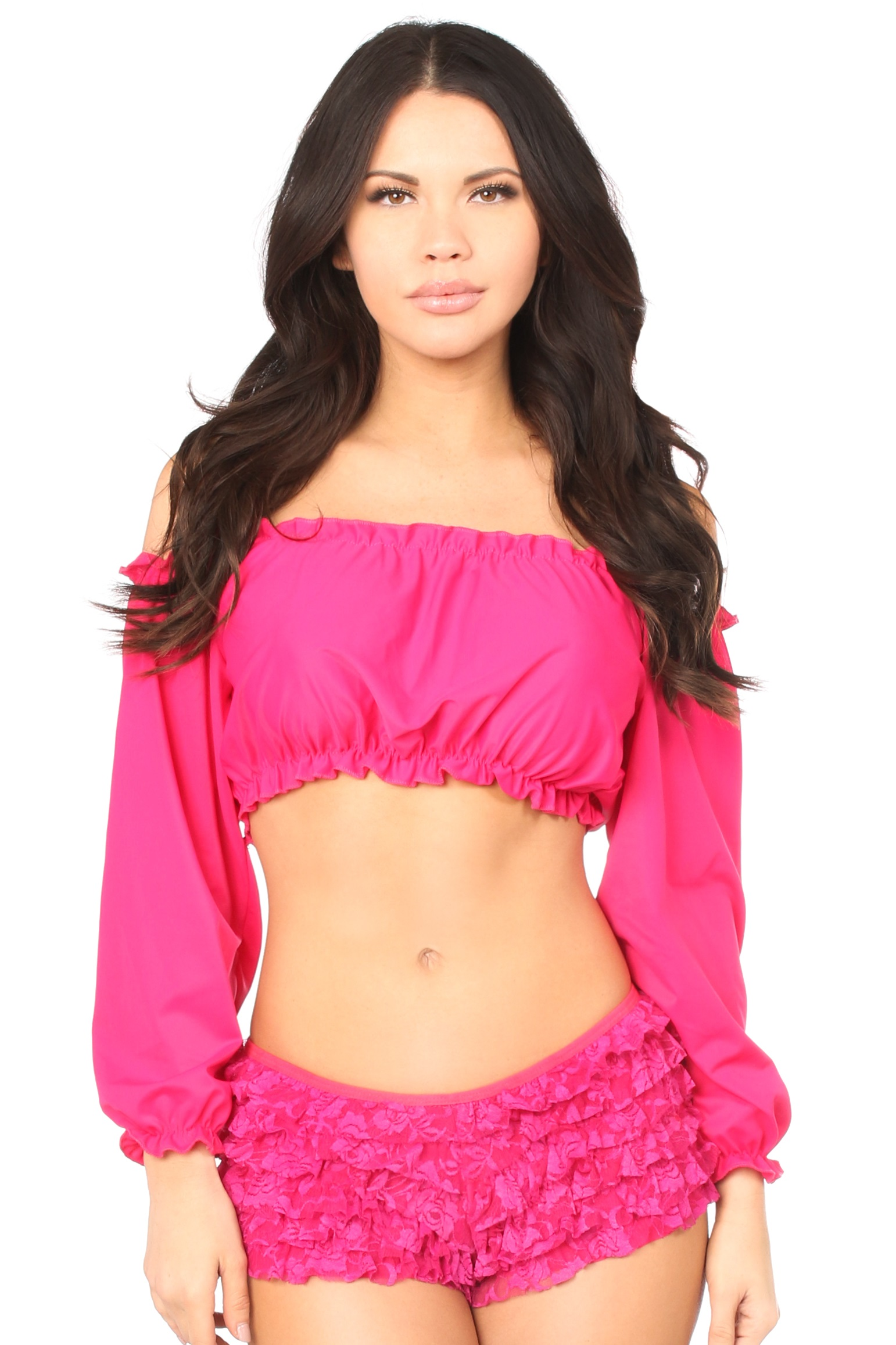 Fuchsia Long Sleeve Peasant Top DASACC-176