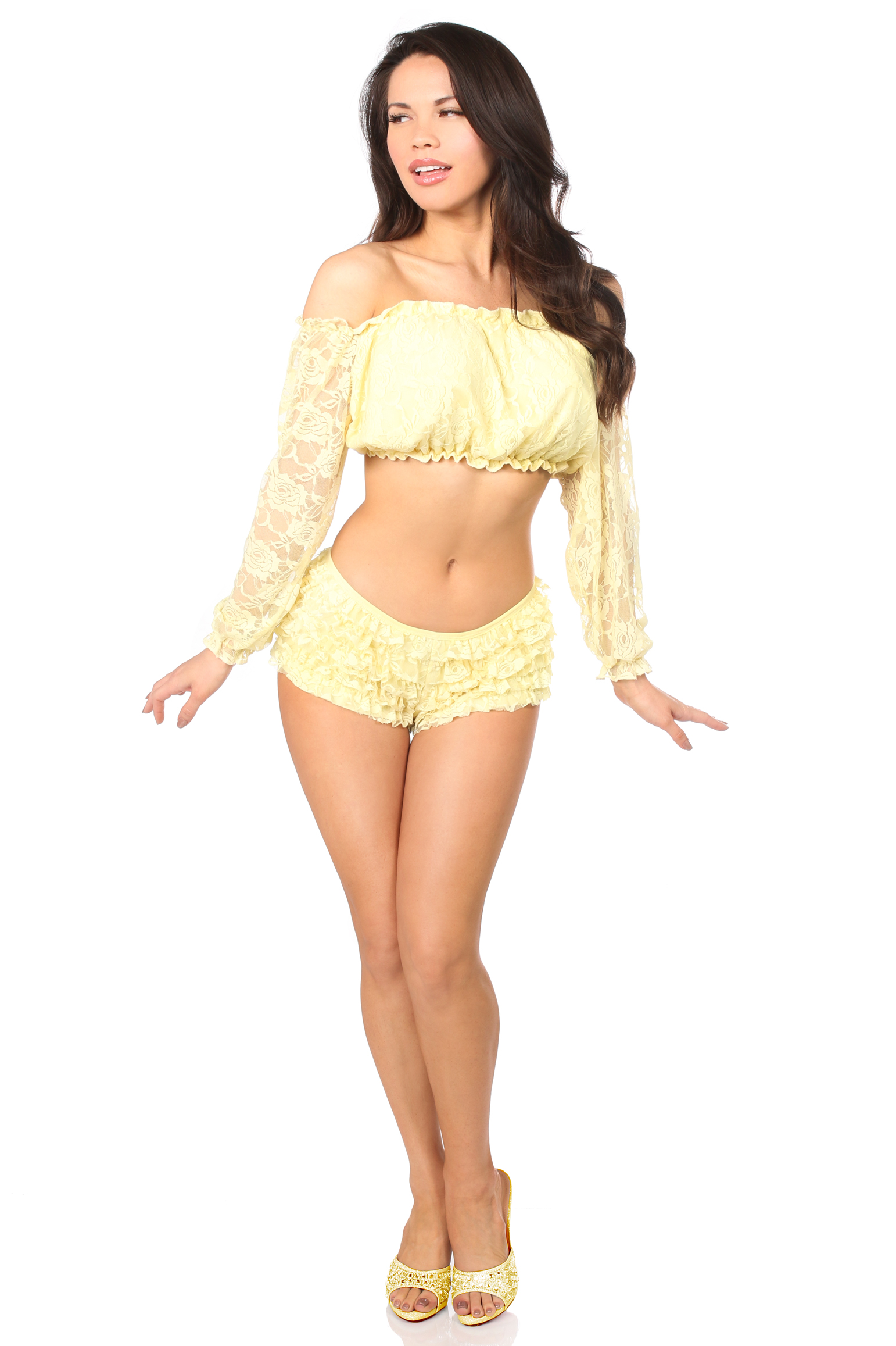 Yellow Lined Lace Long Sleeve Peasant Top DASACC-177