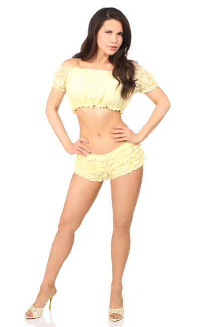 Plus Size Yellow Lined Lace Short Sleeve Peasant Top DASACC-178
