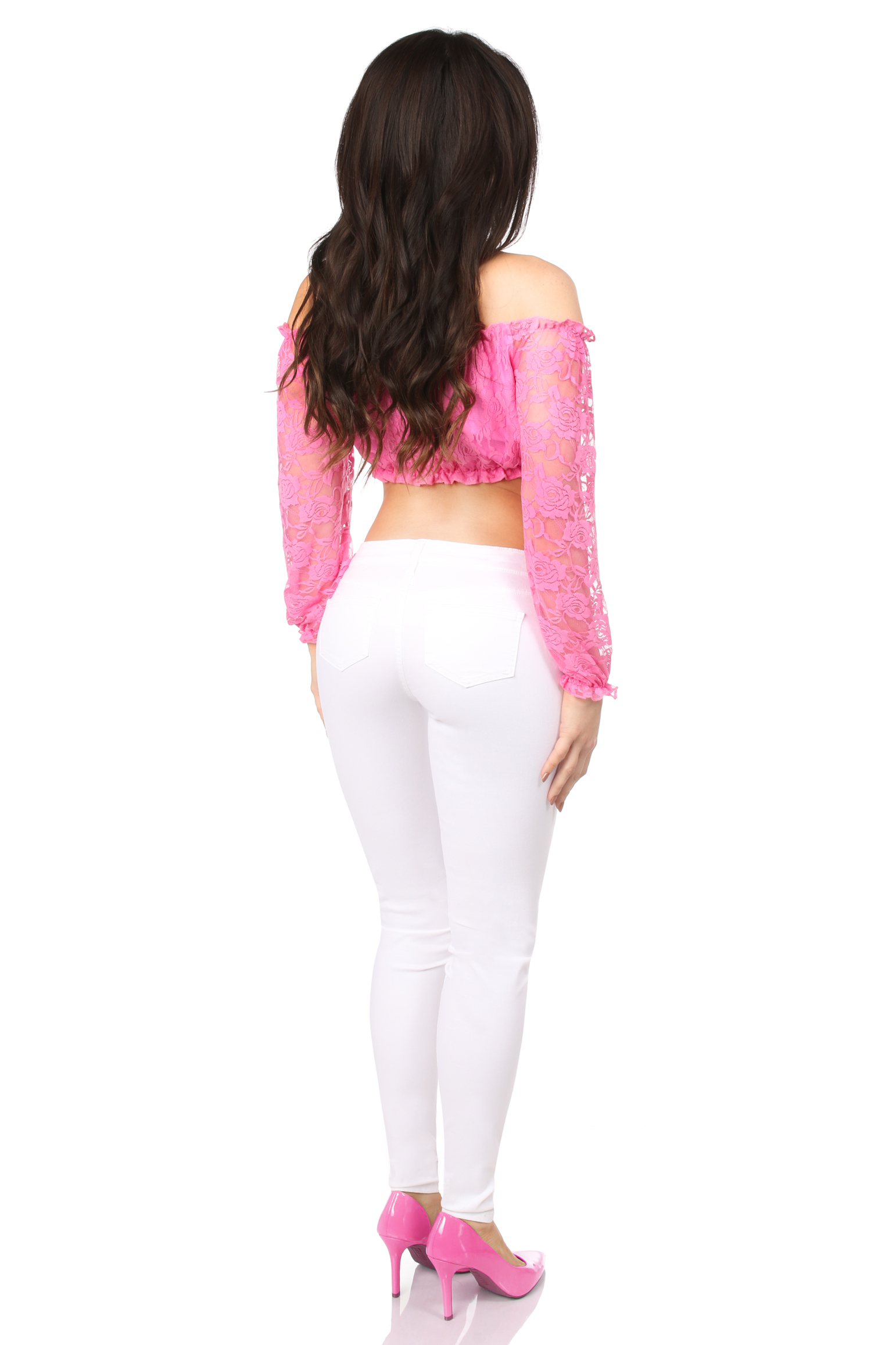 Pink Lined Lace Long Sleeve Peasant Top DASACC-181