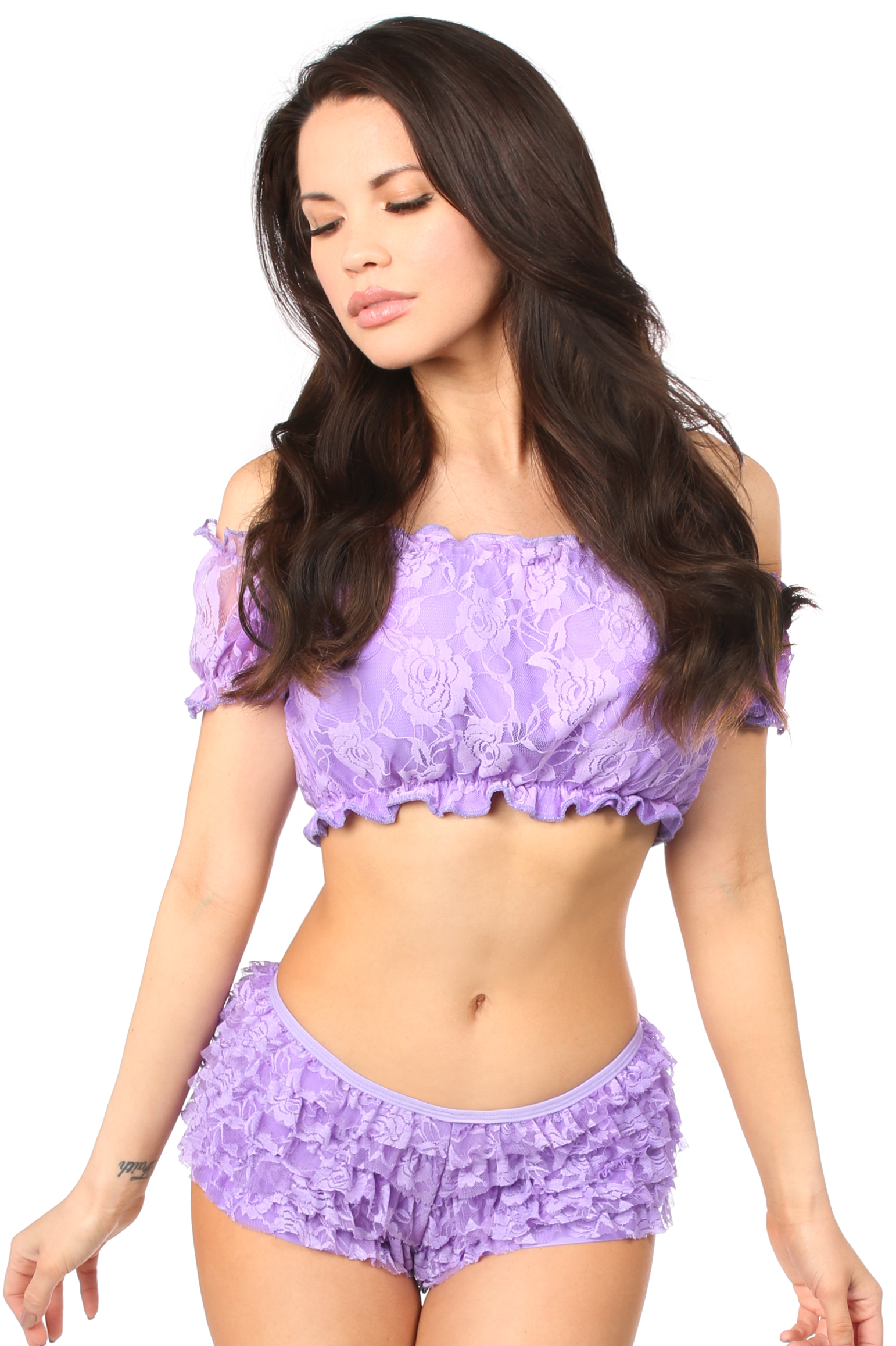 Lilac Lined Lace Short Sleeve Peasant Top DASACC-198
