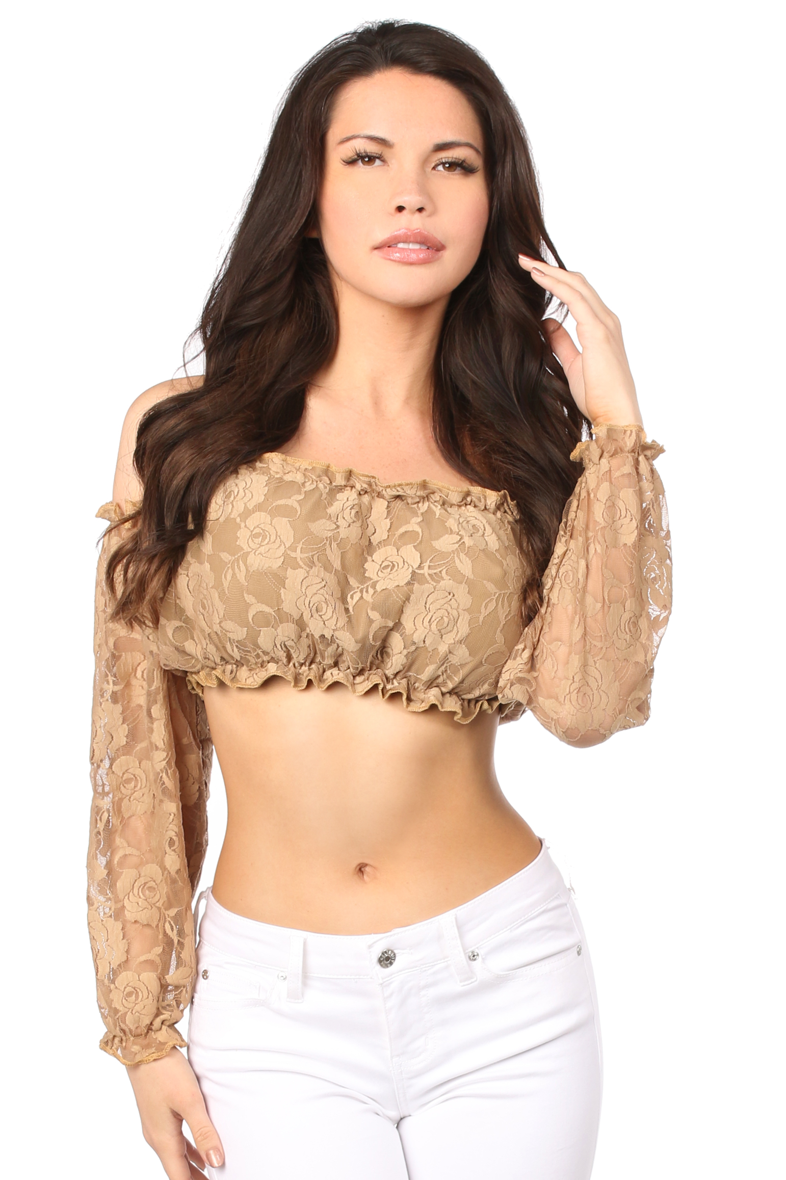 Plus Size Beige Lined Lace Long Sleeve Peasant Top DASACC-205