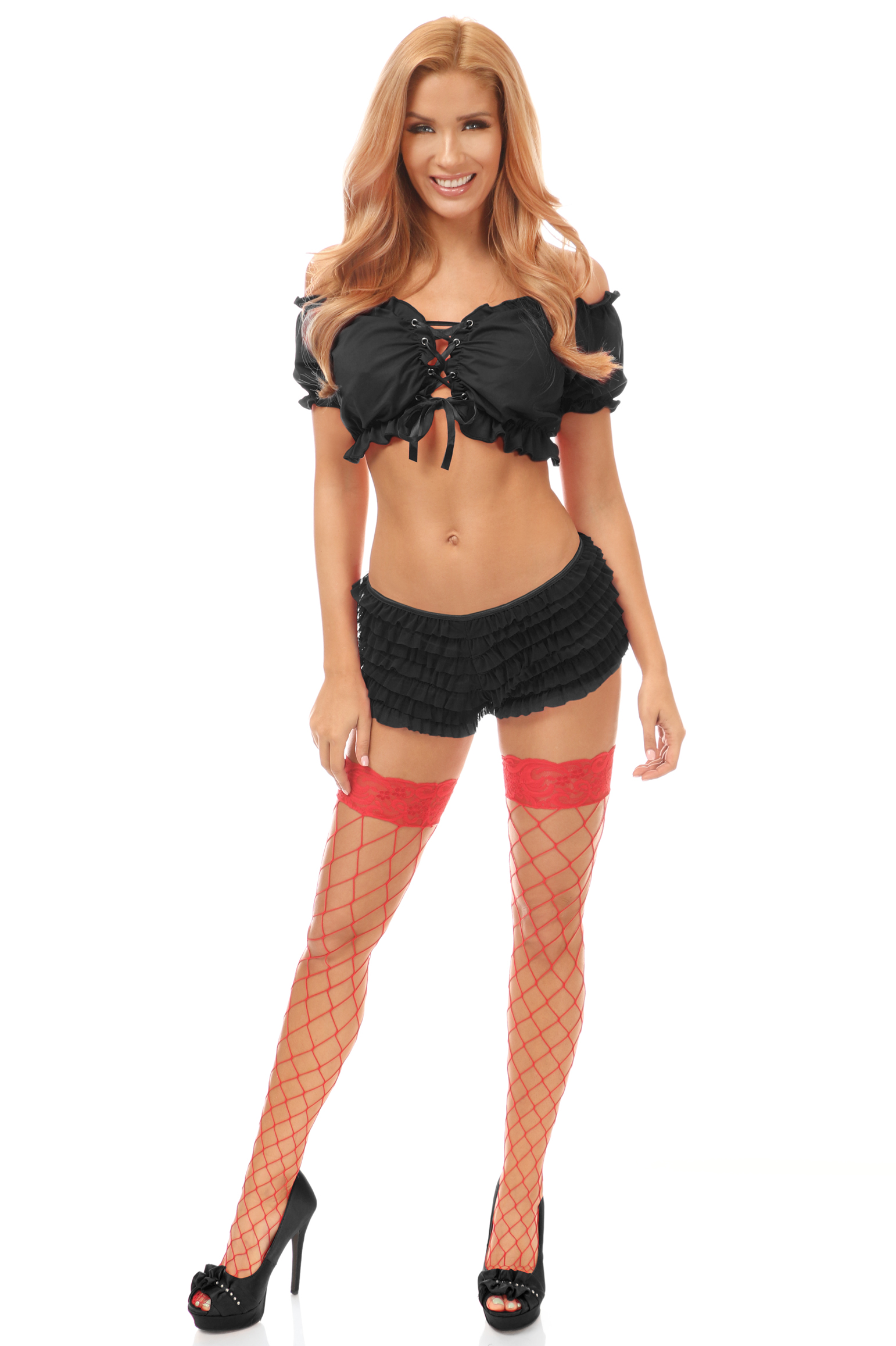 Black Lycra Lace-Up Front Peasant Top DASACC-256