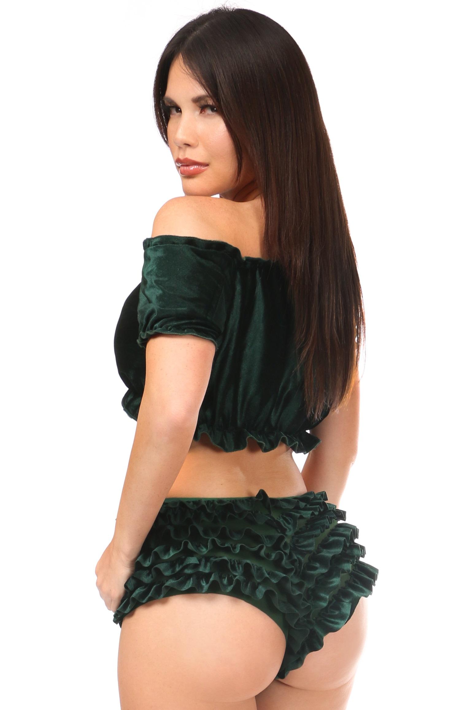 Plus Size Green Velvet Ruffle Panty DASACC-273