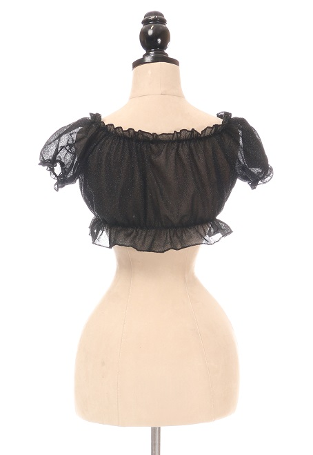 Black Glitter Lace-Up Front Peasant Top DASACC-421