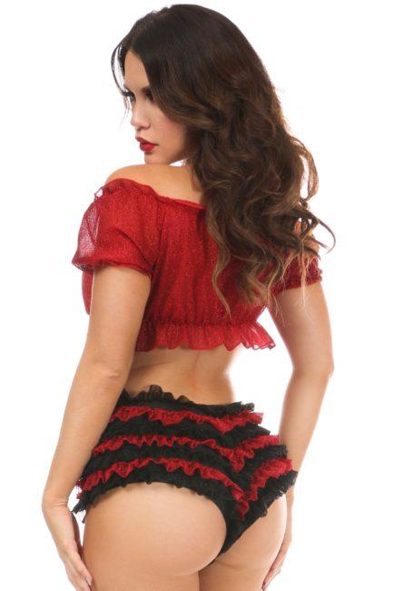 Black/Red Glitter Ruffle Panty DASACC-614
