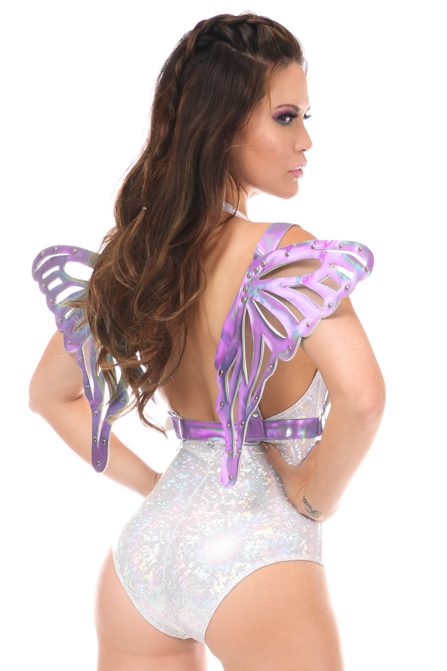 Lavender Holo Body Harness w/Wings - Large DASHAR-109