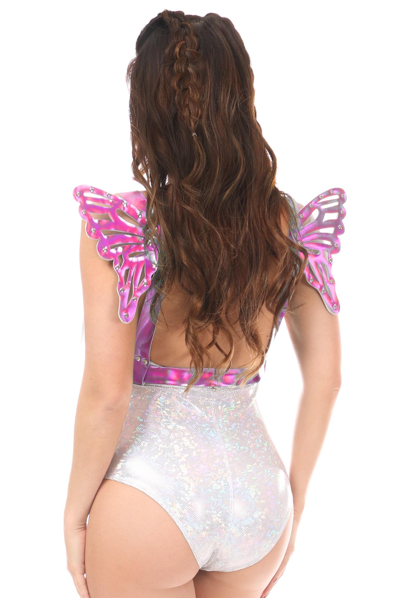 Fuchsia Holo Body Harness w/Wings - Small DASHAR-134